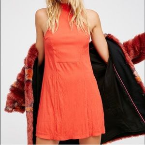 Free People Red Orange Bodycon Cut Out Mini Dress